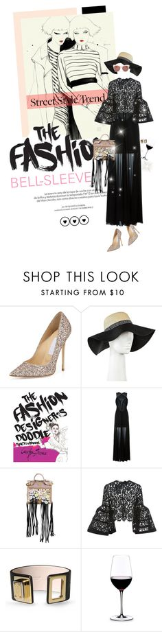 """RING MY BELL"" by meddyanka ❤ liked on Polyvore featuring Jimmy Choo, Louis Vuitton, Target, Jay Ahr, Giancarlo Petriglia, Carolina Herrera, Dolce&Gabbana, Riedel, Blanc & Eclare and bellsleevedress"
