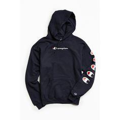 Champion Repeat Eco Hoodie Sweatshirt ($64) ❤ liked on Polyvore featuring tops, hoodies, blue hoodie, pullover hoodie, champion hoodies, champion hoodie and blue hoodies