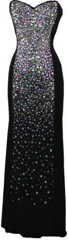 Meier Women's Strapless Rhinestone Maxi Evening Prom Formal Dress Black-18