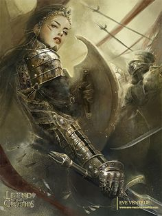 Goddess of Victory by Eve Ventrue - Fantasy art. Female warrior, armor, weapons, wide blades.