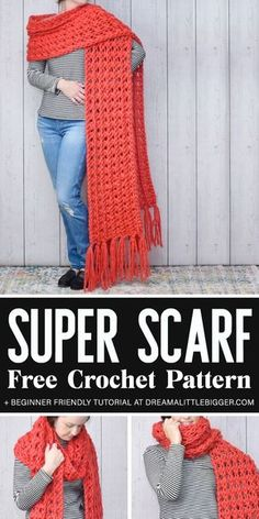 Crisscross Crochet Super Scarf Pattern for Beginners Want one of those pretty & giant super scarves? This Crisscross Crochet Super Scarf Pattern is gorgeously over-sized and. Haube in Übergröße Crisscross Crochet Super Scarf Pattern for Beginners Crochet Scarf For Beginners, Amigurumi For Beginners, Basic Crochet Stitches, Easy Crochet Patterns, Crochet Ideas, Knitting Patterns, Scarf Patterns, Crochet Scarves, Crochet Shawl