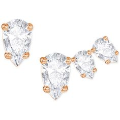 Swarovski Rose Gold-Tone Set of 3 Crystal Mismatch Stud Earrings ($69) ❤ liked on Polyvore featuring jewelry, earrings, rose gold, crystal earrings, stud earrings, sparkle jewelry, swarovski jewelry and studded jewelry