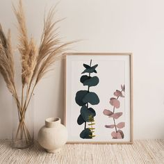 Eucalyptus Print Wall Art - Minimalist Abstract Art