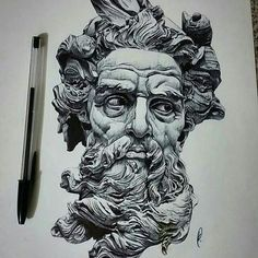 Repost from @motiveartco -  Poseidon pen drawing by artist @kleartist #supportartists #theartisthemotive .