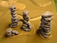 Pink foam, foam cutter, terrain, stone pile, stacked stones, cairn.