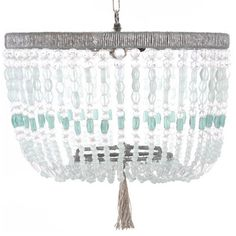 Ro Sham Beaux Malibu Sea Chandelier 18 inch turquoise and clear beads Hanging Chandelier, Beaded Chandelier, Chandeliers, Vintage Chandelier, Coastal Homes, Coastal Decor, Beach House Lighting, Bedroom Lighting, Ro Sham Beaux