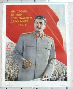1950 РУССКАЯ ФОТОМОНТАЖ СОВЕТСКИЙ АГИТАЦИОННЫЙ ПЛАКАТ СО СТАЛИНЫМ | eBay