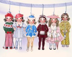 Vintage 1980s Paper Doll Christmas Ornaments