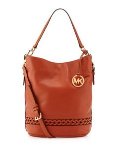 Woven-Detailed Leather Bucket Bag, Burnt Orange by Michael by Michael Kors at Last Call by Neiman Marcus.