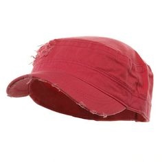 Adjustable Herringbone Army Cap - Fuchsia