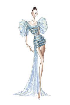 Fashion Design Sketchbook, Fashion Design Drawings, Fashion Sketches, Croquis Fashion, Fashion Drawing Dresses, Fashion Illustration Dresses, Fashion Dresses, Fashion Week, Fashion Art