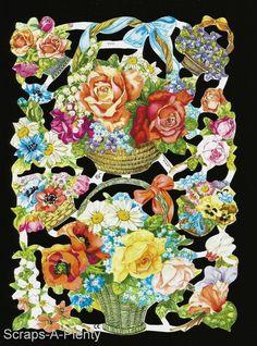 German Victorian Style Embossed Scrap Die Cut - Bright Colorful Flowers  EF7111