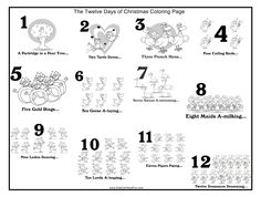 12 days of christmas coloring pages 42 Best Twelve Days of Christmas Printables, Worksheets, Coloring  12 days of christmas coloring pages