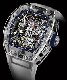 Limited to five pieces in the world, the Richard Mille RM 56 Felipe Massa Sapphire watch has a tourbillon movement that's completely covered in sapphire crystal. Richard Mille, Dream Watches, Fine Watches, Cool Watches, Men's Watches, Fashion Watches, Skeleton Watches, Expensive Watches, Beautiful Watches
