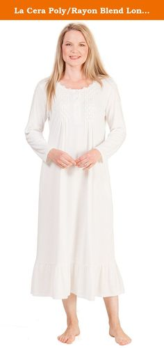 La Cera Poly/Rayon Blend Long Sleeve Ballet Nightgown - Ivory Bloom (S (6-8), Ivory). Polyester Blend Nightgowns - This feminine La Cera polyester/rayon knit nightgown comes in Ivory Bloom and features a lovely feminine bodice with smocking and floral embroidery. This long sleeve nightgown will feel soft and comfy against your skin.