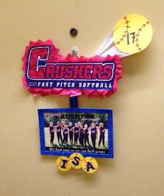 Softball team door decorations. No more knocking on random hotel doors to find your other teammates.