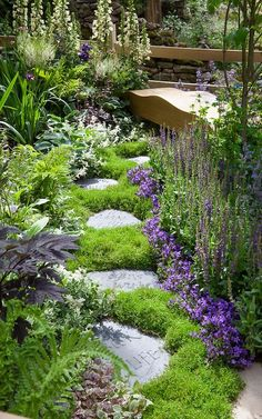 Stepping stone path leading to wooden bench with letters carved into stone by Martin Cook