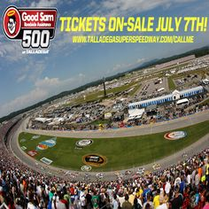 Tickets go on-sale for the Good Sam Roadside Assistance 500 on July 7th! Sign up and we'll call you to secure the best available seats! THIS IS TALLADEGA!     Sign up --> www.talladegasuperspeedway.com/callme