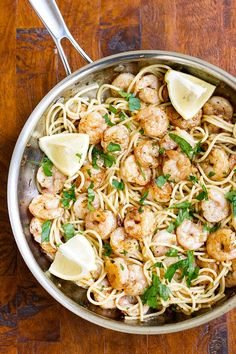 Garlic butter shrimp pasta is easy to make and tastes amazing -- shrimp tossed with a rich butter sauce and pasta Buttery Garlic Shrimp, Garlic Butter Shrimp Pasta, Shrimp Pasta Dishes, Shrimp Pasta Recipes, Seafood Recipes, Shrimp Meals, Butter Pasta, Seafood Boil, Seafood Dishes