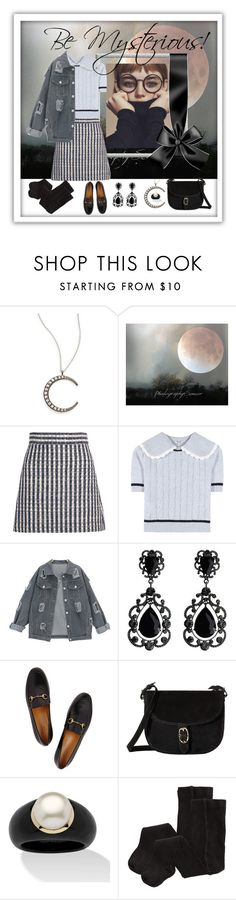 """Tartan/Check Fashion: Grey Check Skirt"" by suzmarooz ❤ liked on Polyvore featuring KC Designs, Miu Miu, Gucci, Emma Fox, Palm Beach Jewelry and H&M"