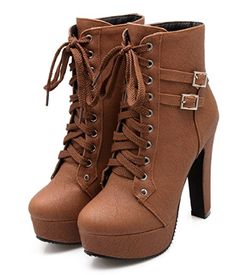 Susanny Women Autumn Round Toe Lace Up Ankle Buckle Boots -- Great for a girls night out. Available in 3 colors that will go with any outfit you choose to rock