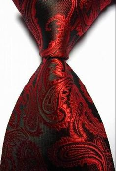 Amazon.com - Pisces.goods New Red Paisley Jacquard Woven Men's Tie Necktie -