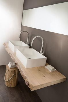 salle de bain , double vasque sur support bois en … – bathroom, double basin on wooden support in … – Decor, Basin, Diy Bathroom, Home Accessories, Interior, Guest Toilet, Bathroom Design, Bathroom Decor, Double Sink Bathroom