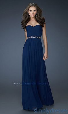 Long Sweetheart Ruched Dress at PromGirl.com