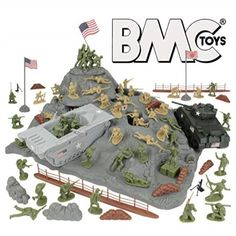 BMC WW2 Iwo Jima Plastic Army Men - Island, Tanks and Soldiers 72pc Playset - Walmart.com - Walmart.com Sands Of Iwo Jima, Army Men Toys, New American Flag, Battle Of Iwo Jima, Amphibious Vehicle, Sherman Tank, Toy R, Male Figure, Old Toys