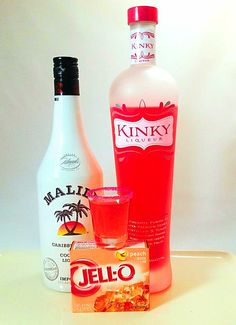 Kinky Malibu Barbie Jello Shots! **1 box Peach Jello dissolved in 1 cup boiling water + 1/2 cup Kinky Liqueur + 1/2 cup Malibu Coconut Liqueur. Jellinate. Chill. Serve. :) ♡ My Fun & Fabulous 1950's Mom #KINKYCheersToMom
