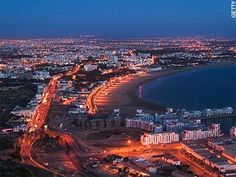 A lovely view of Agadir at night.
