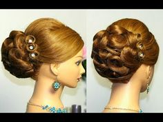 Wedding prom hairstyles for long hair. Bridal updo - YouTube