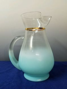 Vintage Glass Blendo Aqua Turquoise Blue Green Pitcher Gold Band MCM | Pottery & Glass, Glass, Glassware | eBay!
