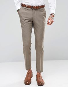 Shop Selected Homme Stretch Light Brown Wedding Skinny Dogtooth Suit at ASOS. Trouser Suits, Trousers, Foot Pads, Wedding Suits, Stretches, The Selection, Asos, Dresses For Work, Skinny