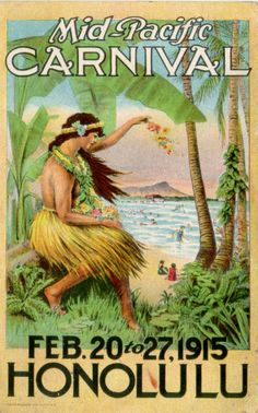 1915 Vintage Postcard Mid-Pacific Carnival Honolulu Hawaii