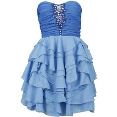 Amazon.com: 29K New Womens Blue Ruffled Strapless Ruched Bandeau... ($31) ❤ liked on Polyvore featuring dresses, vestidos, short dresses, blue, short ruffle dress, frilly dress, ruched mini dress, flounce dress and strapless dress