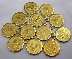 1 Set of Twelve Zodiac Signs Small Raw Brass Charms in by tsrose, $1.69
