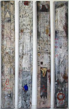 1) Gotische krassen - Gemengde techniek op doek - 176 x 23 cm (2x) - 2005…