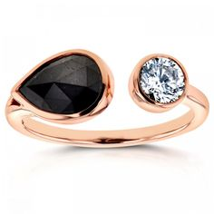 "Black and White ""Two"" Stone Diamond Ring 1 7/8 CTW in 14K Rose Gold"