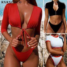 5caf46378bda4 Hot Sexy Bikinis Mujer Long Sleeve Swimsuit Push Up Bikini Set Thong  Biquinis