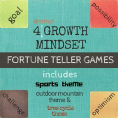 Growth Mindset Fortune Teller/ Cootie Catchers Games in 4 distinct layouts, perfect for teaching about growth mindset in your classroom lessons and school counseling guidance program. Motivational statements and inspiring questions will help your students make the shift to a growth mindset perspective. Images appeal to a wide range of students of various ages and genders. Use these fortune tellers as a supplement to your Growth Mindset Classroom lessons and curriculum.