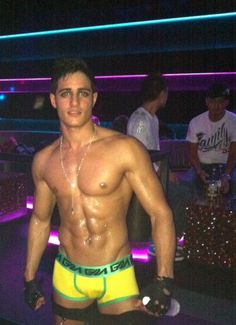 Luca at the club wearing Garcon model trunks