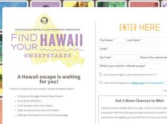 Enter The Outrigger Find Your Hawaii Sweepstakes for a chance to win a 5-night trip for two to Honolulu, Hawaii!