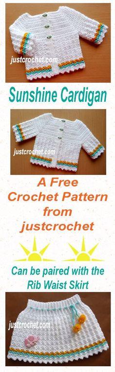 Free crochet pattern for Baby sunshine cardigan. Crochet Baby Jacket, Crochet Baby Sweaters, Knitted Baby Clothes, Baby Girl Crochet, Crochet Clothes, Baby Knitting, Crochet Bebe, Cute Crochet, Crochet For Kids