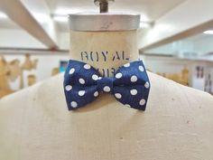 Pre-Tied Bowtie Navy blue w/wite polka dots by BowMeAwayByAlexandra