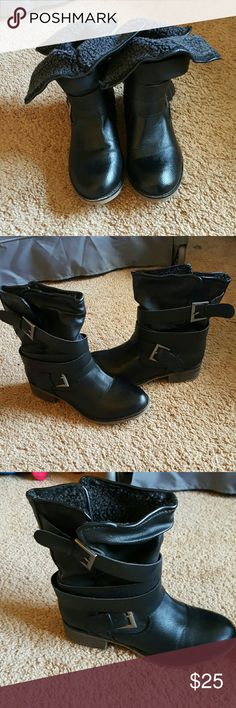 black boots with belt  straps Used once  So there basically brand new still nothing  wrong with them they are pretty warm for the winter they have fur on the inside Charlotte Russe Shoes Ankle Boots & Booties