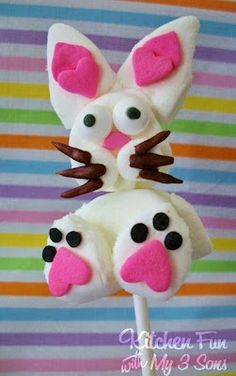 Simple Bunny Marshmallow Pops by Kitchen Fun with My 3 Sons
