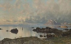 Artwork by Eilert Adelsteen Normann, Fishing village at Lofoten, Made of Oil on canvas