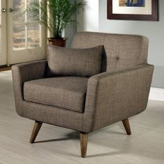 Kline Tufted Fabric Armchair - Khaki - HS-SF-2200-KH