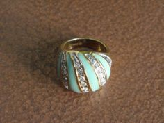 70's Green Enamel Gold Domed Rhinestone Ring size by Hiddenglitz